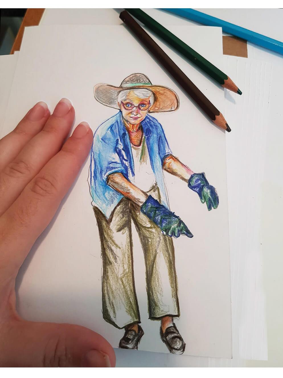 איור בצבעי עיפרון למעשה באליעזר ובגזר